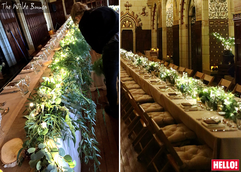 Alex Jones wedding tablecentre designs at Cardiff Castle
