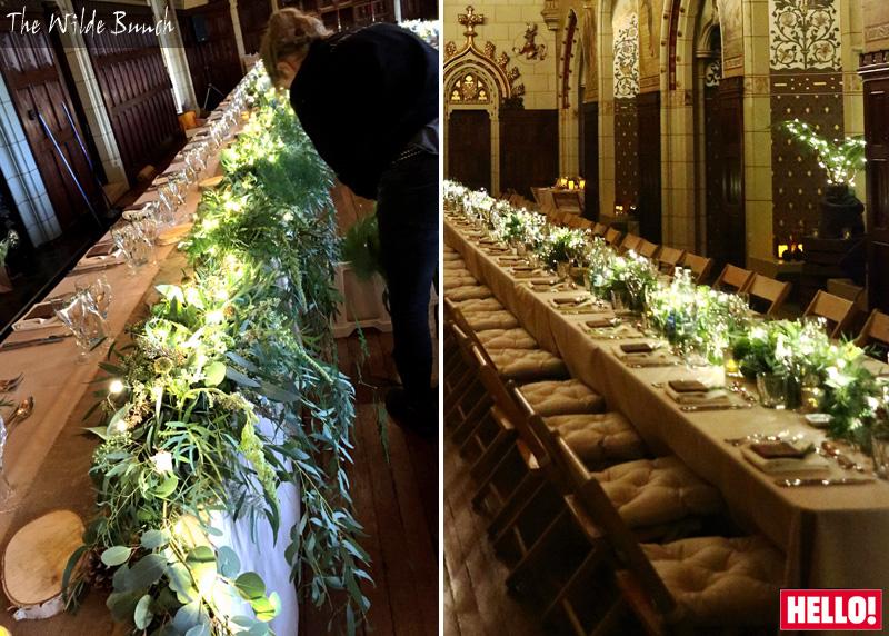 Alex Jones wedding tablecentre designs at Cardiff Castle
