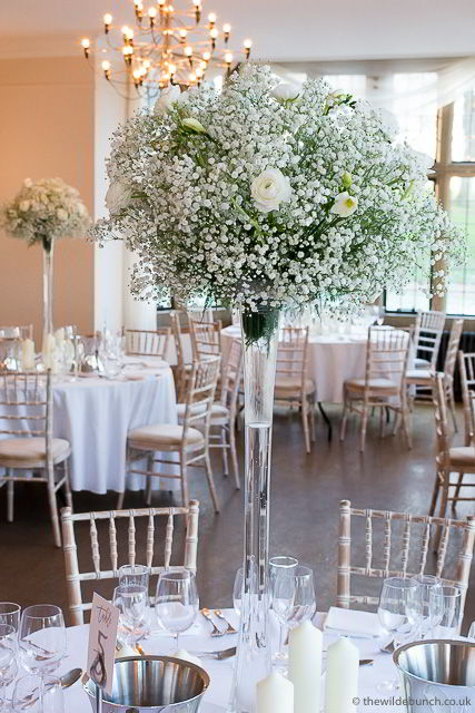 Dining tables and winter wedding flowers