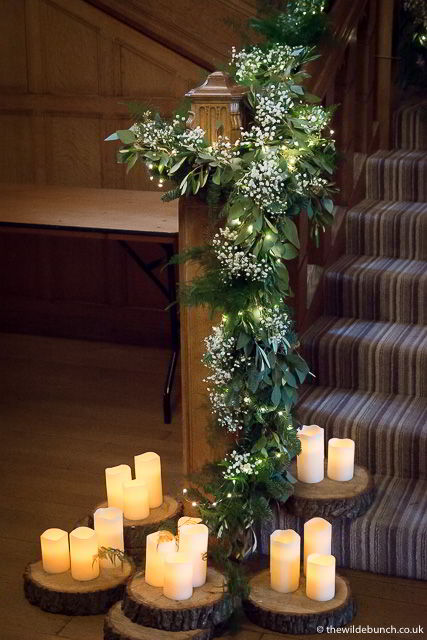Stair Garland and candles at Coombe Lodge