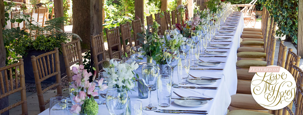 Maunsel House wedding venue - table and flowers