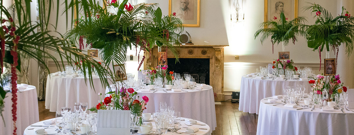 North Cadbury Court wedding venue - flowers and tables