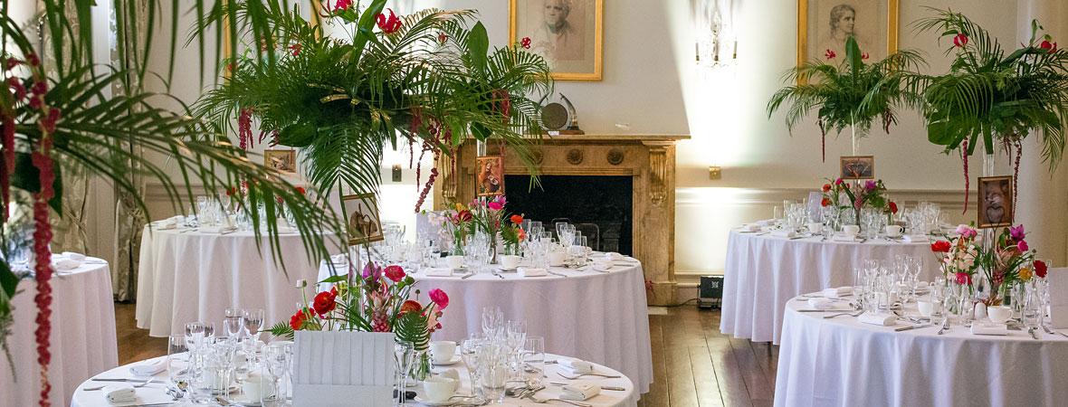 North Cadbury Court wedding venue - flowers and tables