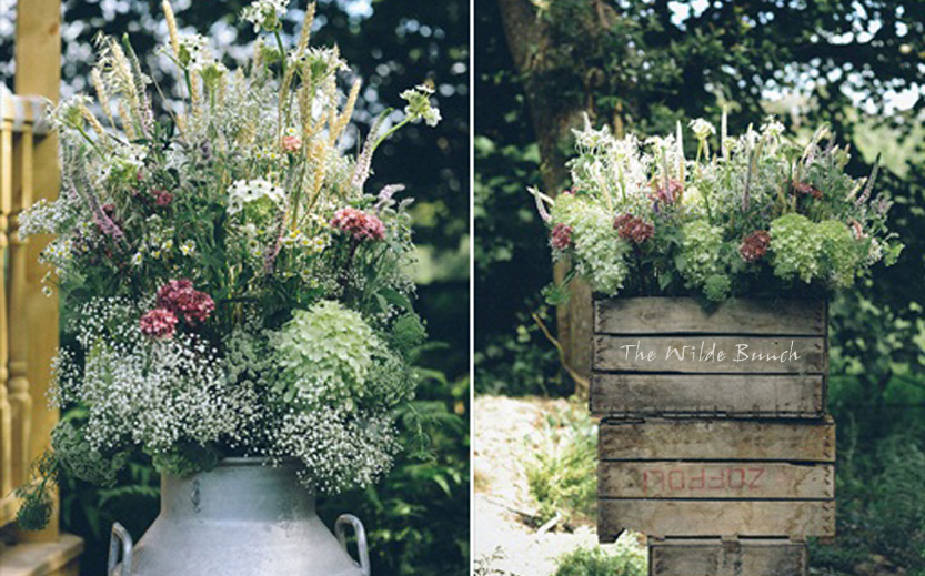 Floral crate stack & milk churn