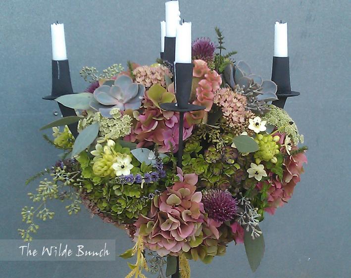 Iron candelabra floral design
