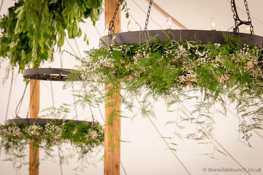 Wedding marquee hanging garland