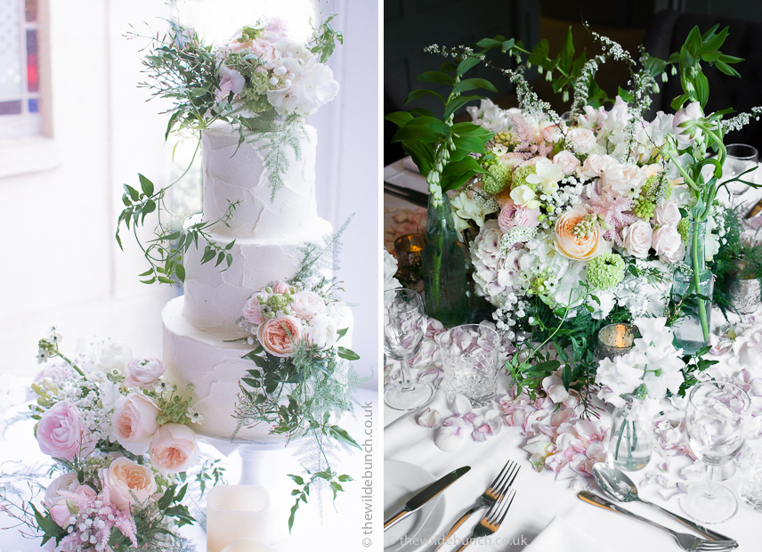 Pastel and Peach wedding flowers as wedding table centre