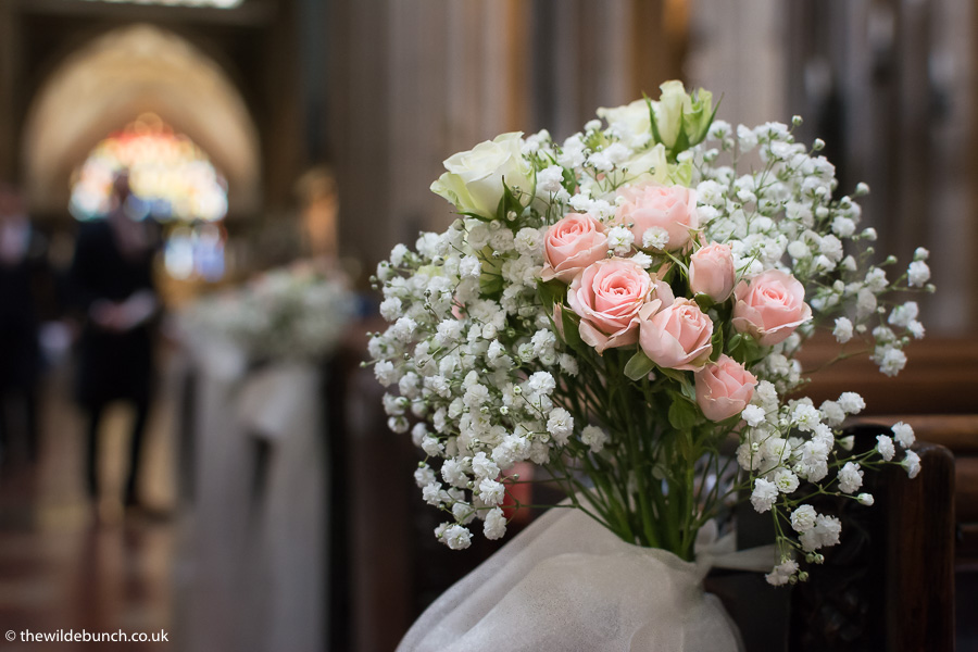 Aisle flowers at St Mary Redcliffe Church