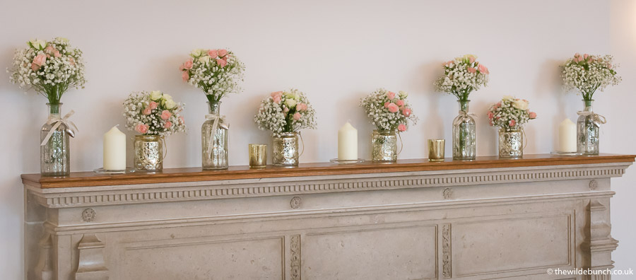 The mantlepiece floral design at Coombe Lodge