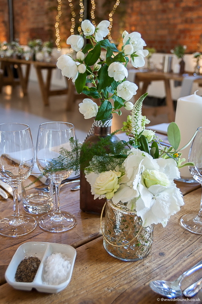 Wedding table flowers at Paintworks
